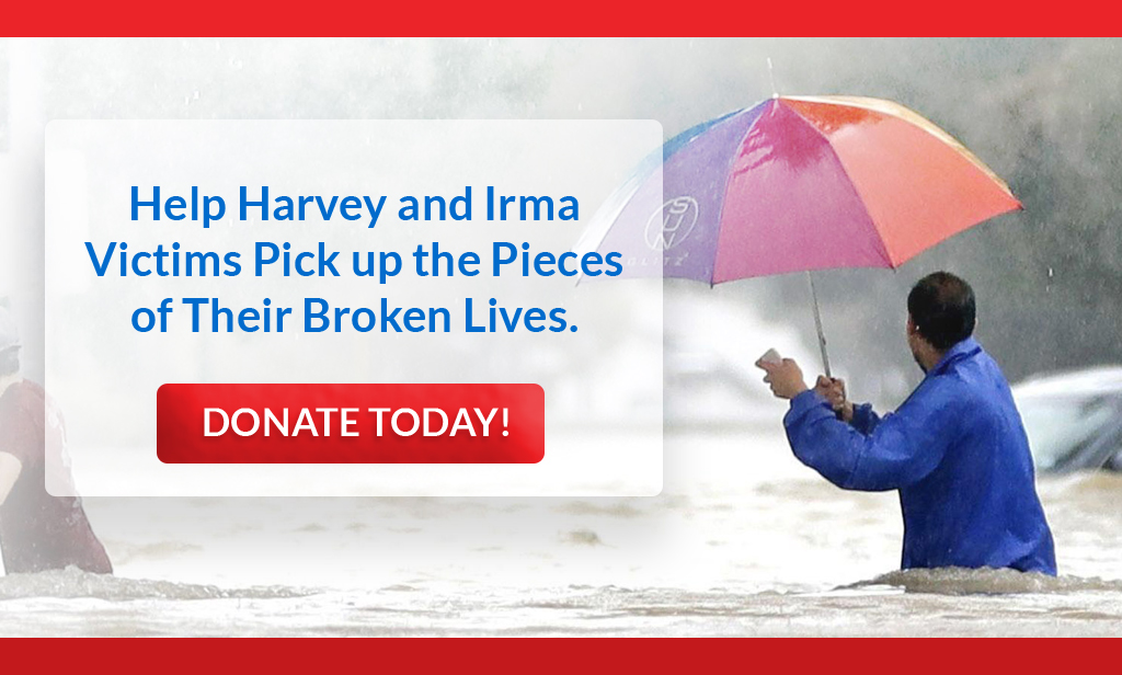 hurricane harvey and irma banner ad - give now!