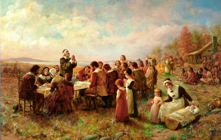 picture of pilgrims on giving thanks