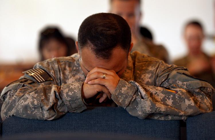 christian soldier praying