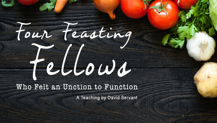 Four Feasting Fellow cover photo - vegetables on table - a teaching by David Servant