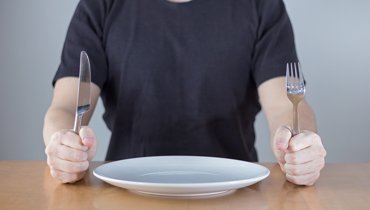 Man with empty plate - Hunger and thirst for righteousness
