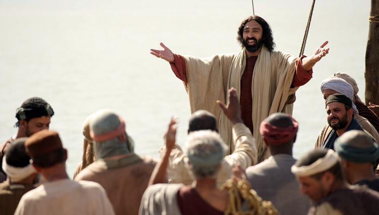 Reenactment of Jesus teaching on boat
