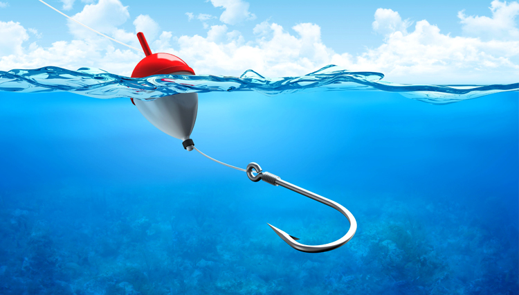 Picture of a hook in the water, representing temptation