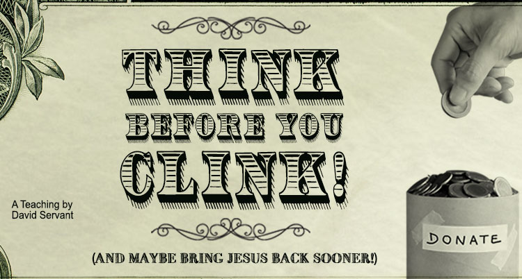 "E-Teaching graphic with title, ""Think Before You Clink, and Maybe Bring Jesus Back Sooner"""