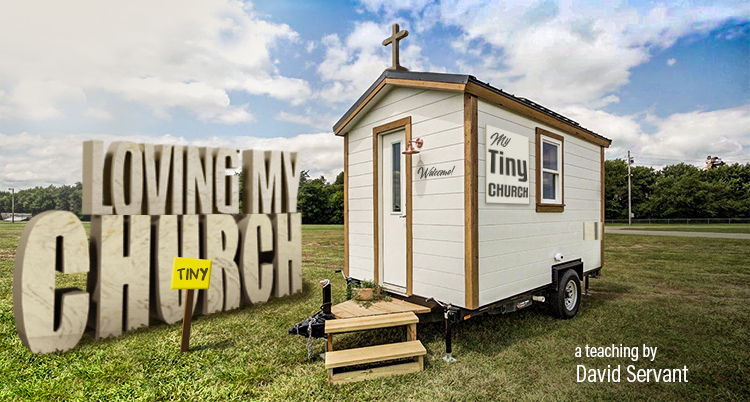 E-Teaching banner with tiny church