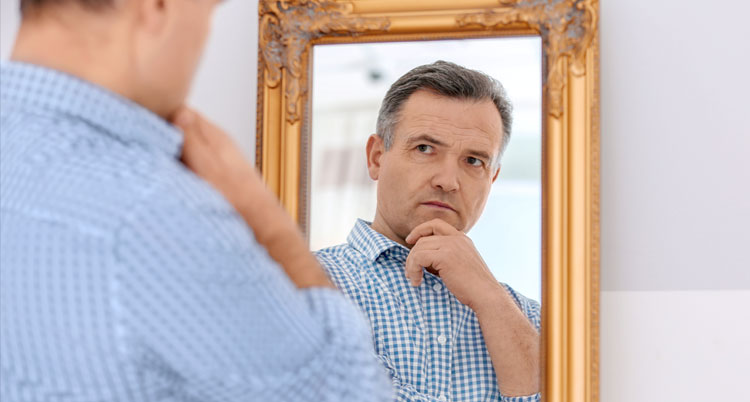 "Man looking in mirror - ""Am I a Pharisee?"""